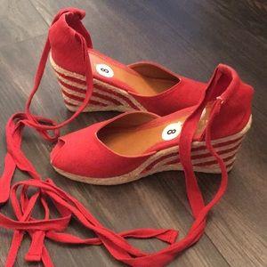 Peep-Toe Wedge Espadrille Lace-Up Sandals